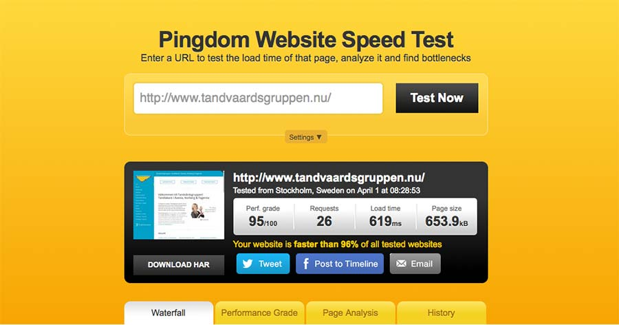 pingdom website test tool